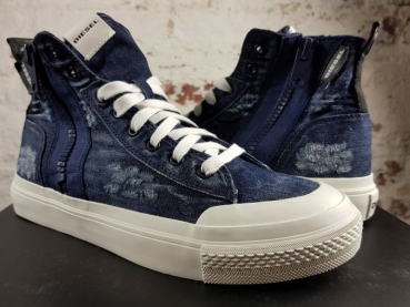 DIESEL S-ASTICO MID ZIP High-Tops aus Denim im Used-Look jeans blau