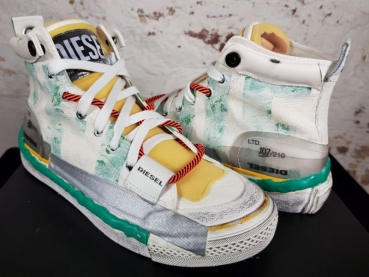 !LIMITED EDITION! DIESEL S-ASTICO Sneaker White/Emerald/Flue Yellow