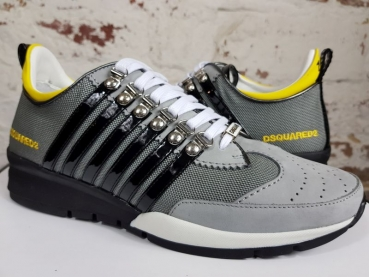 DSQUARED2 251 Lace-Up Low Top Sneakers grigio+giallo