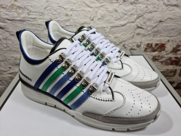 DSQUARED2 Lace-Up Low Top Sneaker 251 Vitello+Commato Rigato+Nappa, Bianco+Verde+Blu