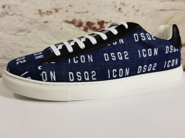 DSQUARED2  Sneakers new tennis Lace-up Low Top , Blu Bianco