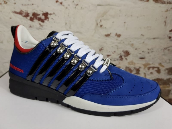 DSQUARED2 251 Lace-Up Low Top Sneakers blu royal+rosso